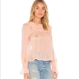 For love and lemons silk star print ruffle blouse